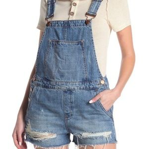 Blank NYC Destroyed Denim Overall Shorts